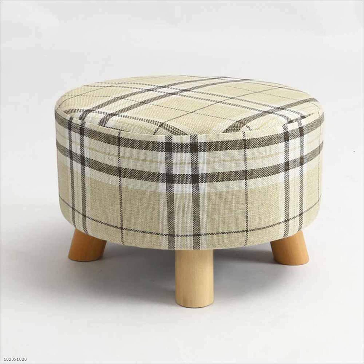 Sofa Stool Solid Wood Stool Fabric Washable Coffee Table Stool Small Stool Suitable for Living Room Bedroom, 5