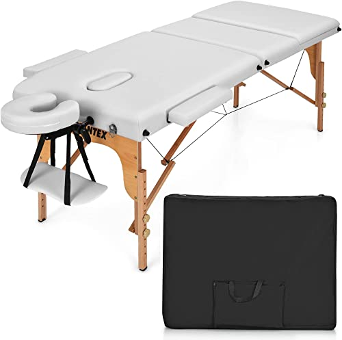 new arrival Giantex 84inch Folding Massage Table lowest Spa Bed, Portable 3 Sections Salon Tattoo Bed with Face Cradle Armrests Wooden Legs, Professional Massage discount Bed Height Adjustable with Carry Case (White) sale