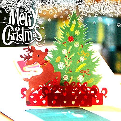Yuzhijie Tarjeta de felicitación Tridimensional árbol de Navidad Corea del Sur Escultura de Papel 3D Creativa Tarjeta de bendición de Regalo Hecha a Mano