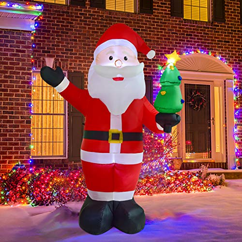 Artiflr 8Foot Christmas Inflatable Santa Claus with LED Light Christmas Decoration for Indoor Outdoor Yard Garden Decorations