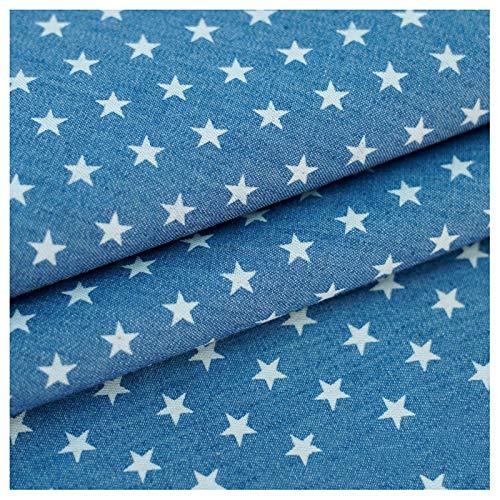Stretch stoff Denim Bedruckter Stoff Hellblaue Sterne Kostüm Designer Stoff 100% Baumwolle Gewaschener Denim Nicht Dehnbar Dünner Stil Für Hemd Jacke Hosen Bekleid(Size:1.5M*5M,Color:Hellblaue Sterne)