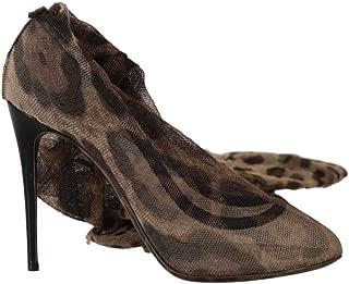 Dolce & Gabbana Brown Leopard Tulle Long Socks Pumps