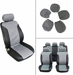 ECCPP Universal Car Seat Cover w/Headrest - 100% Breathable Embossed Cloth Stretchy Durable for Most Cars Trucks Vans(Black/Gray)
