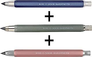 KOH-I-NOOR 5340 Versatil - Set of 3 metal mechanical clutch leadholder with lead sharpener, lead diameter 5.6 mm - blue and green and pink