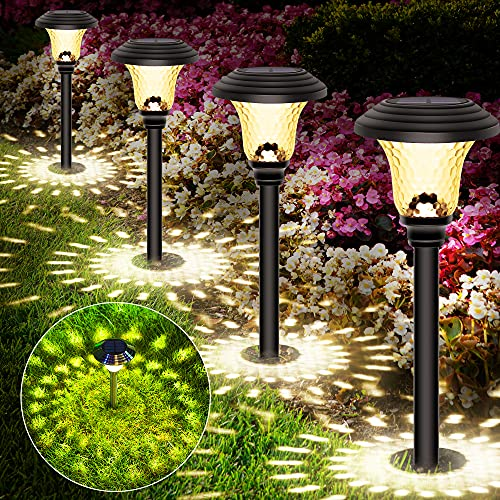 Molbory 4 Pezzi Lanterna a Energia Solare Luci Giardino Vintage Faretti Solari Esterno Luce Solari Giardino Esterno IP65 Impermeabile Luci da Esterno Solare Faretti Solari da Giardino Bianca Calda