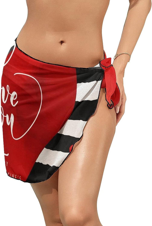 Women's Beach Sarongs Bikini Cover Ups Happy Valentine's Day Love You Sheer Swimwear Short Skirt