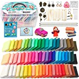 HOLICOLOR Polymer Clay 62 Colors Oven Bake Clay (1.4 oz per Block) Includes Extra 1 White and 1 Black with 52 Accessories and Tools, Modeling Clay for Kids & Adults, Create Jewelry, Decors and Crafts