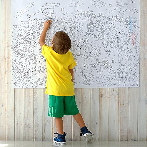 Big giant coloring poster colorings for children Zooland. Coloring pages for kids and adults. Color me posters for family (33.08 x 46.5 in)