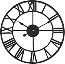 HOIBAI 16 inch Large Wall Clock Silent Non-Ticking Roman Numerals Decor 40cm Battery Operated Clocks Easy to Read for Living Room Office Kitchen Classroom(Black)