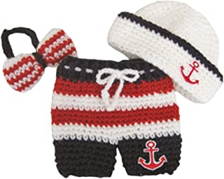 Newborn Baby Photography Prop Crochet Sailor Anchor Bow Hat Pants