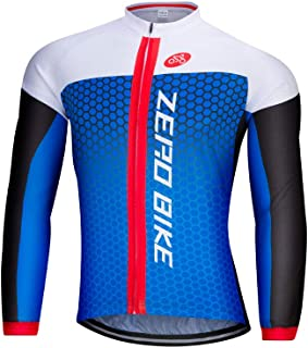 ZEROBIKE Men's Long Sleeve Cycling Jersey Outdoor Sports Slim Fit Full Zip Breathable and Quick Dry