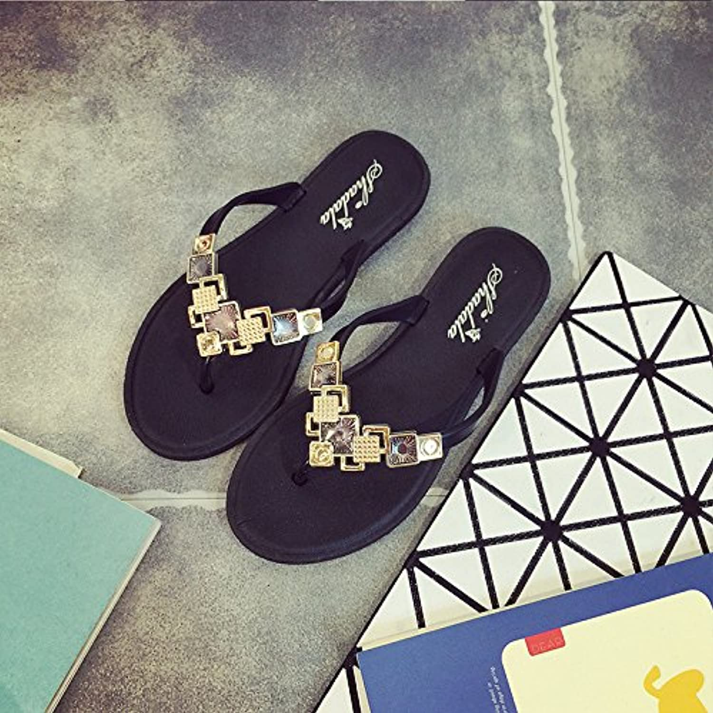 WYMBS Women's Slippers & Flip-Flops Summer Comfort PU Dress Casual zipper Rhinestone gold Sliver slippers,black,37