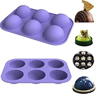 (2 Packs)Medium Semi Sphere Silicone Mold, Baking Mold for Making Hot Chocolate Bomb, Dome Mousse,Cake, Jelly
