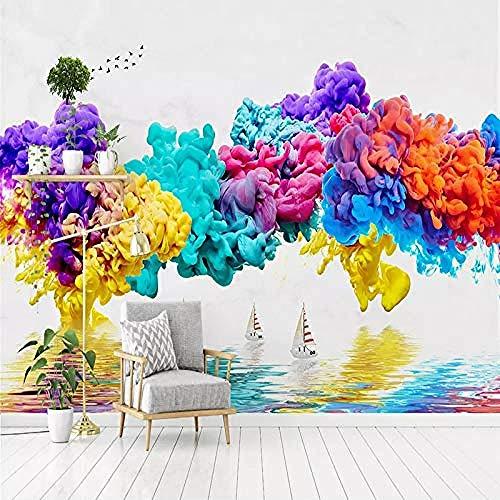 XHXI Mural tinta Color humo paisaje pájaros abstracto 3D papel tapiz sala de estar sofá Fondo decoración del h Pared Pintado Papel tapiz Decoración dormitorio Fotomural sala sofá mural-350cm×256cm