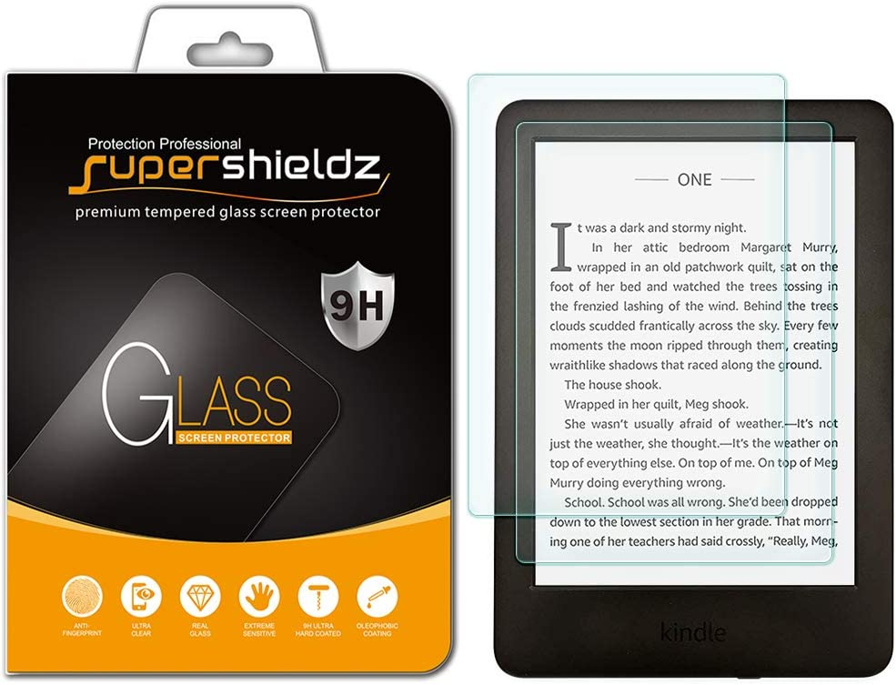 (2 Pack) Supershieldz Designed for All New Kindle (10th Generation 2019), Kindle E-Reader (8th Generation) and Kindle Paperwhite (7th Generation) Tempered Glass Screen Protector, Anti Scratch, Bubble Free
