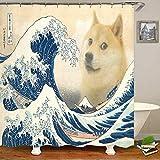 N / A Neuheit Meme The Great Wave Doge Duschvorhang Shiba Inu In Great Wave Badezimmer Vorhang Funny Joke Dog Puppy Animal Home Decor-B150xH180cm