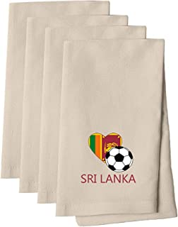 Love Soccer Heart Sri Lanka Style 2 Cotton Canvas Dinner Napkin, Set of 4