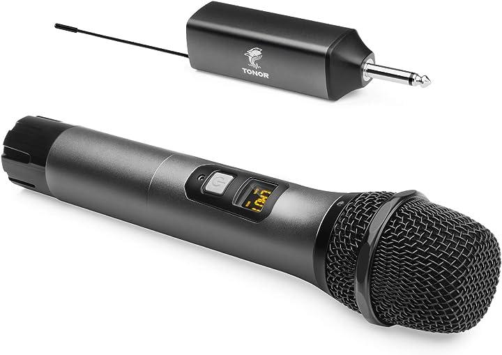 Microfono wireless, tonor uhf sistema microfonico portatile in metallo cordless con ricevitore ricaricabile TW-620