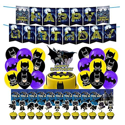 Batman Decoraciones Cumpleaños -simyron 43 Pcs Juego de Suministros de fiesta de cumpleaños Batman Theme Fiesta Cumpleaños de Decoracione para Fiestas Cumpleaños Baby Showers
