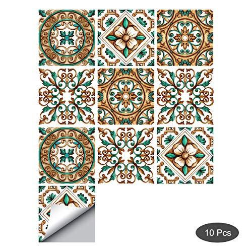 decalmile 10 Stück Fliesenaufkleber 15x15cm Geometrische Blume Wandfliese Fliesensticker Küche Badezimmer Deko