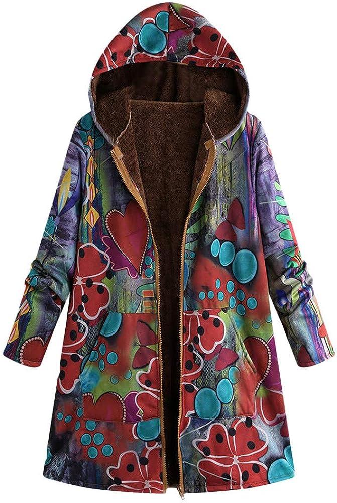Womens Winter Warm Vintage Coat Floral Print Zipper Hooded Outerwear Oversize Plush Lined Long Parka