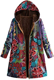 Womens Winter Jacket Parka Flannel Lined Hooded Gradient Graffiti Dye Print Warm Hippie Long Loose Coats Plus Size XXXL