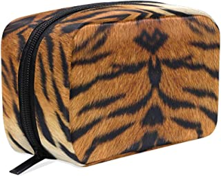 ZZKKO Tiger Animal Print Cosmetic Bag Train Case Toiletry Organizer Travel with Compartments, Makeup Bag Zipper Pouch for Teen Girls Women Small Purse