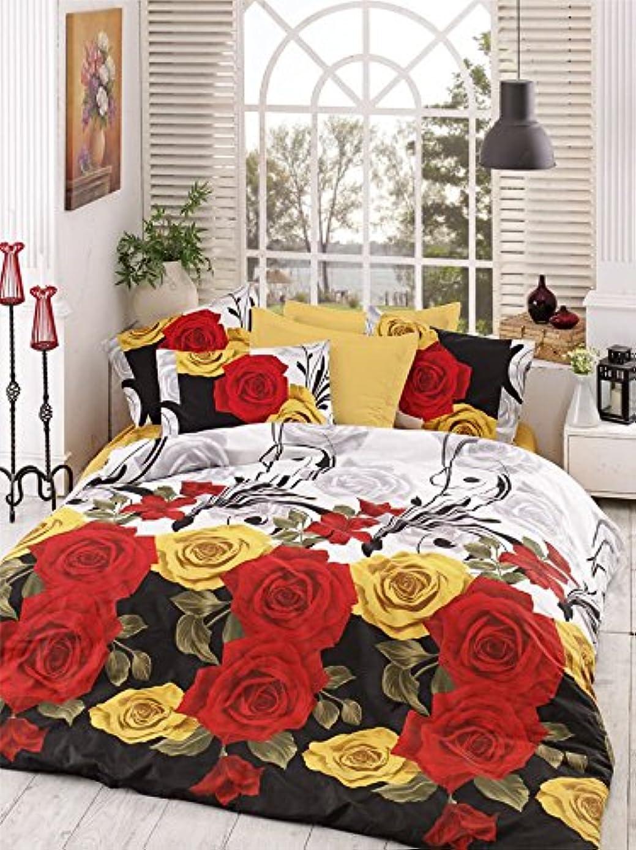 代替殺します比較的LaModaHome 3点 ラグジュアリー ソフトカラー ツイン&シングルベッドルーム寝具 50%コットン キルト掛け布団カバーセット レッド イエロー ローズ グリーン リーフ ブラック ロマンチック ボタニカル