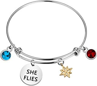 KUIYAI Captain Marvel Quote Gift She Flies Bracelet Hala Star Charm Avengers Jewelry