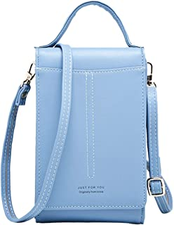 Handtasche Damen Kleine,ICEIVY Crossbody Handytasche Phone Bag für Damen,Frauen,Mädchen,Leder Einfarbig Kartenhalter Schul...