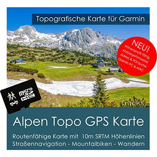 Alpen Garmin kaart TOPO 4 GB microSD-kaart (Duitsland Zwitserland Italië Oostenrijk Frankrijk) topografische GPS vrijetijdskaart fiets wandelen tochten trekking outdoor navigatiesystemen, PC & MAC