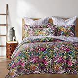 Levtex home - Basel Quilt Set - Full/Queen Quilt + Two Standard Pillow Shams - Multicolor Floral - Quilt Size (88x92in.) and Pillow Sham Size (26x20in.) - Reversible - Cotton