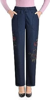 Women's Fleece Lined Jeans Embroidery Elastic Waist Loose Long Denim Pant
