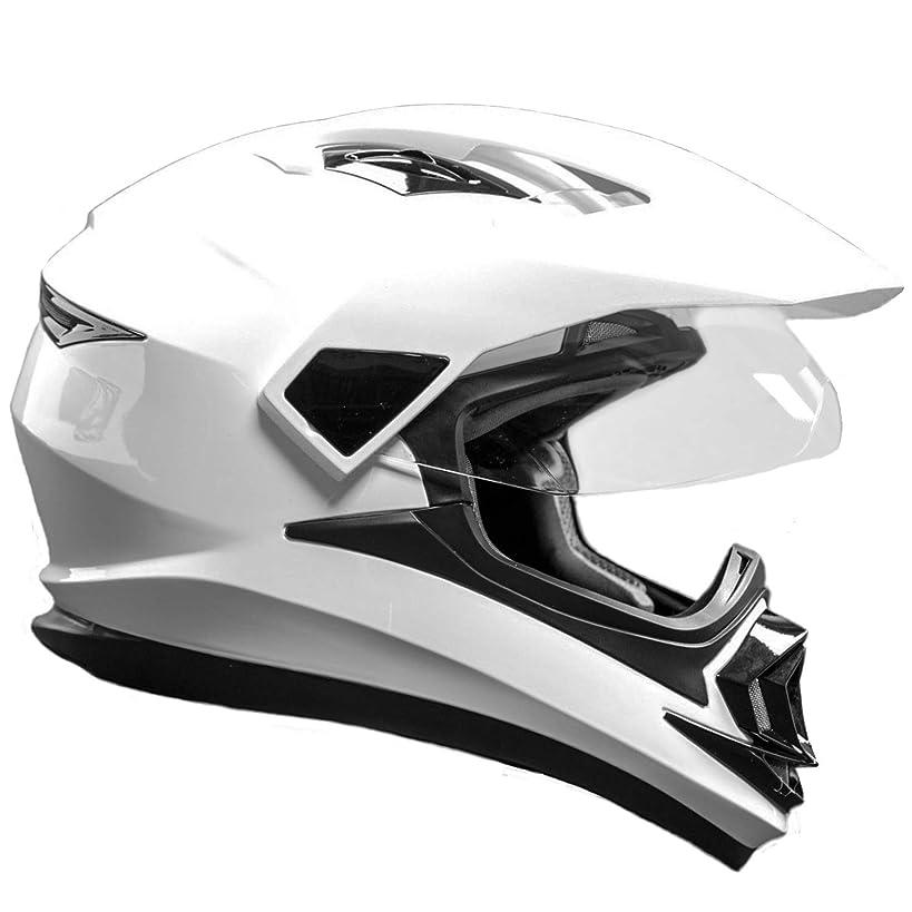 Typhoon XP14 Full Face Dual Sport Helmet Off Road UTV ATV Motorcycle Enduro - White - Large