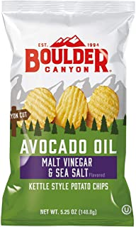 Boulder Canyon Kettle Cooked Potato Chips Wavy Cut 5.25 oz. Bag Count –Crunchy Chips Cooked in 100 Great for Lunches or Sn...