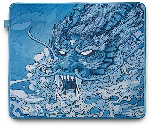 Hotline Games Chinese Dragon Professional Large Gaming Mouse Pad (17.72×15.75×0.16inch),Thick,Soft Rubber,Smooth Surface,Stitched Edges,Non-Slip Base,for Gaming&Work,Office & Home
