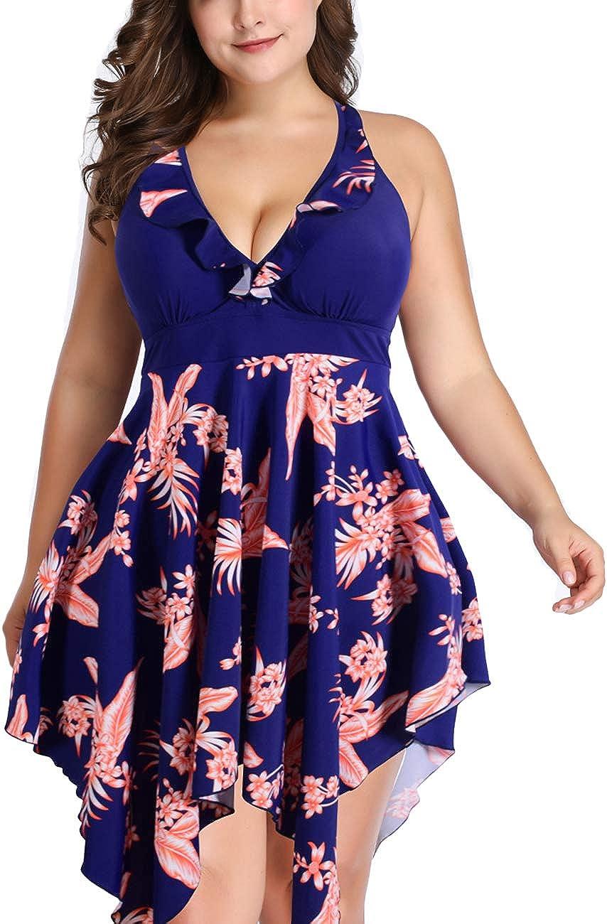 SEBOWEL Women Plus Size 2X-6X Floral Halter 2 Piece Flare Swimdress Tankini Swimsuit Bathing Suit