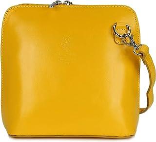 Belli ital. Ledertasche Damen Umhängetasche Handtasche Schultertasche - 17x16,5x8,5 cm B x H x T Gelb