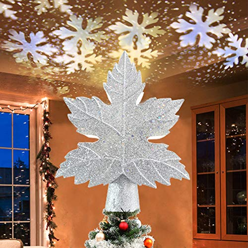 DEVEL-US Christmas Tree Topper with Snowflake Projector,10 inch 3D Snow Treetop Light Sparkling Xmas Tree Top Ornament for Christmas Holiday Party (Sliver)
