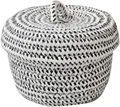 SHYPT Cotton Rope Basket Woven Laundry Basket Storage Hamper, Small Storage Box with Lid for Bedroom Living Room Decor She...
