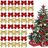 72 piezas de arcos navideños, adornos de arco, cintas de decoración de árboles de Navidad, regalos de corona de Navidad, cintas de decoración de Navidad, oro + rojo