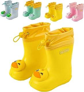 Botas de lluvia, unisex, para niños y niñas, cómodas, ligeras, con dinosaurios, zapatos de lluvia, Amarillo (07 amarillo.)...