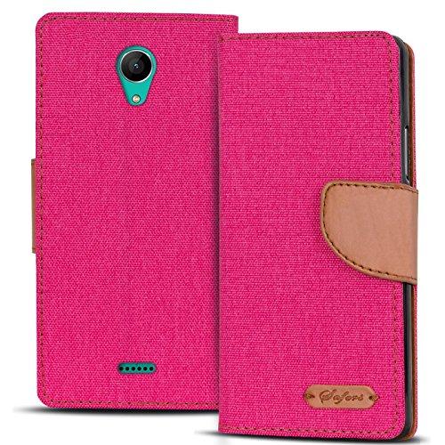 Conie Wiko Freddy Hülle für Freddy Tasche, Textil Denim Jeans Erscheinungsbild Booklet Cover Handytasche Klapphülle Etui mit Kartenfächer, Pink