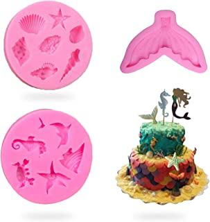 Marine Theme Reusable Silicone Fondant Mold Set - Mermaid Tail, Seahorse, Starfish, Seashell, Conch, dolphin, Crab Chocolate Mold For Sea Theme Cake Decoration, Candy molds, polymer Clay DIY molds