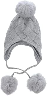 Motique Accessories Kids Boys Girls Beanie Winter Hat with Long Pom Poms