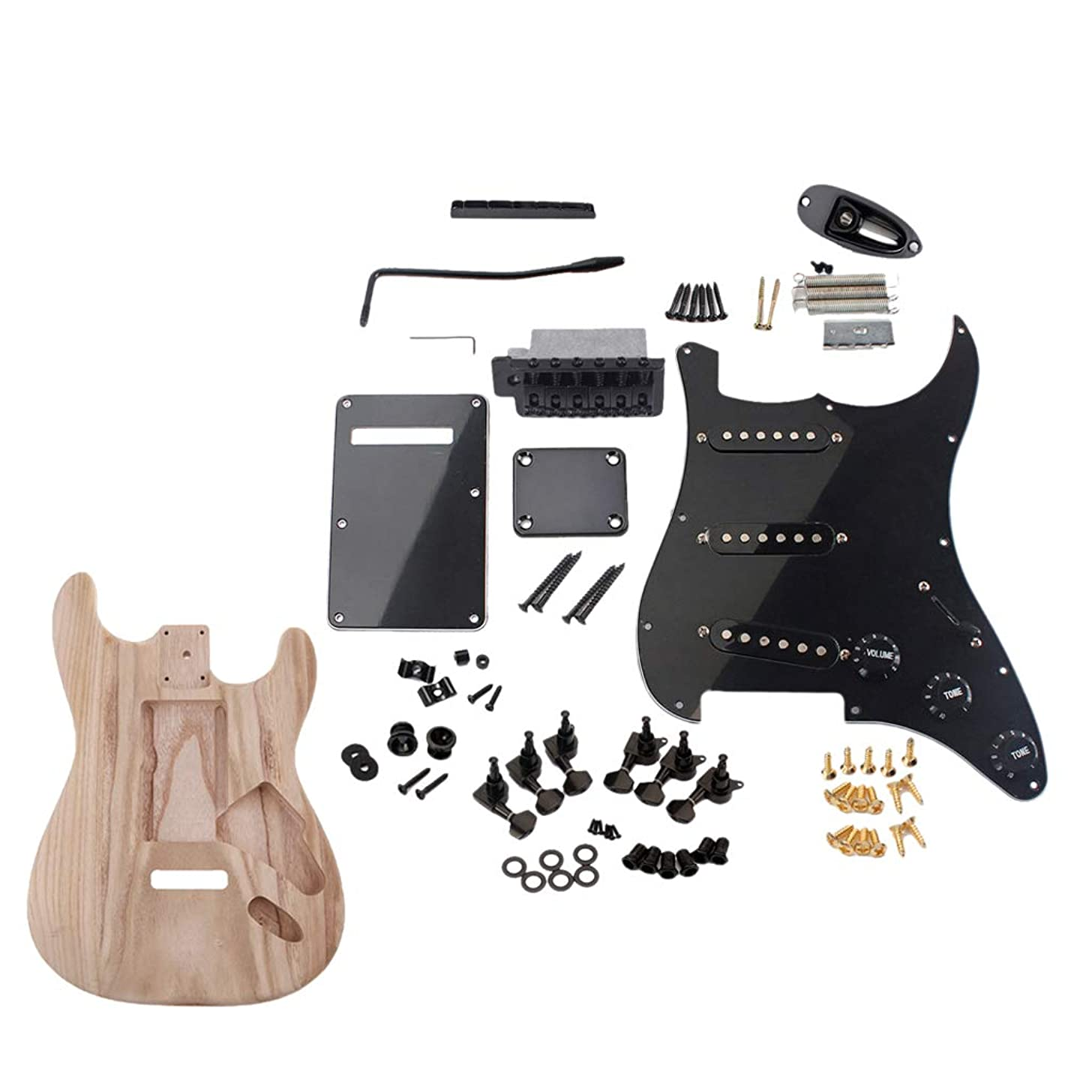 CUTICATE Exquisite Wood Electric Guitar Blank Body with Plastic 3-ply Pickguard Backplate Tuning Pegs Nut Jack Plate Screws Neck Plate Luthier Tools