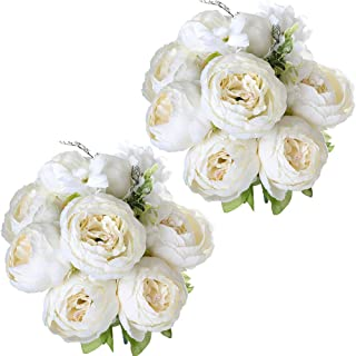 Nubry 2pcs Artificial Peony Silk Flowers Bouquet for Wedding Home Garden Decoration(White)