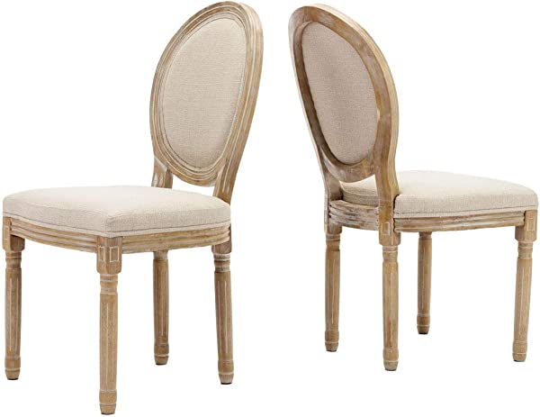 Farmhouse Dining Room Chairs French Distressed Bedroom Chairs With Round Back Elegant Tufted Kitchen Chairs Set Of 2 Beige