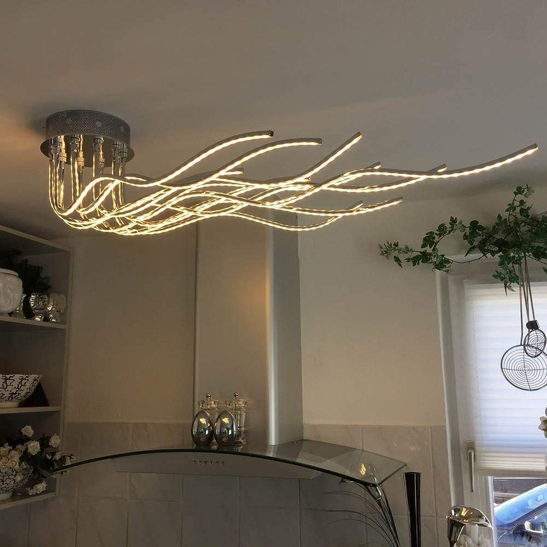 LICHT-TREND Sculli LED-Deckenleuchte 2800 Lumen 150 cm Chrom [Energieklasse A]