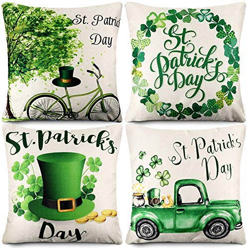 CDWERD St Patrick#039s Day Pillow Covers 18x18 Inch Set of 4 St Patrick#039s Day Shamrock Clover Decorations Farmhouse Throw Pillow Case Cotton Linen Cushion Case for Home Decor